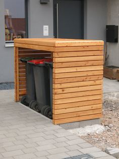 Starting signal for the outdoor area: DIY trash can box - Mülltonnenbox - Garten Shed Storage, Storage Bins, Small Storage, Patio Storage, Storage Ideas, Hidden Storage, Garbage Storage, Boot Storage, Storage Cart