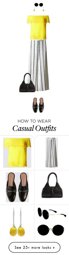 """""""Casual outfit: Black - Yellow"""" by downtownblues on Polyvore featuring Miu Miu, stripes, mules, casualwear and palazzo"""
