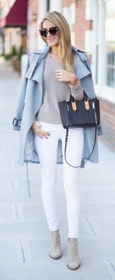 #winter #fashion / Blue Coat / Grey Knit / White Skinny Denim