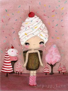 Cupcake Print Candy Ice Cream Pink Cake Girl Wall Art