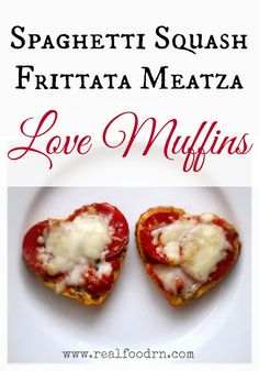 Spaghetti Squash Frittata Meatza Love Muffins. Healthy gluten-free personal little pizzas. Make ahead and freeze for a quick and healthy snack. Kid favorite! #meatza #frittata #healthykidsnacks