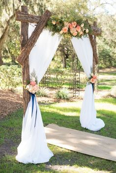pink and navy floral rustic wedding arch decoration ideas