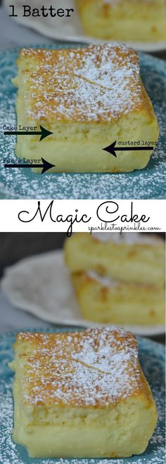 Magic Cake is the new craze! Why is it Magic? This cake requires one simple batter, once baked, it bakes into 3 very different layers of yumminess. Pin for Later! No Bake Desserts, Easy Desserts, Delicious Desserts, Dessert Recipes, Dessert Ideas, Yummy Food, Magic Cake Recipes, Sweet Recipes, Fun Recipes