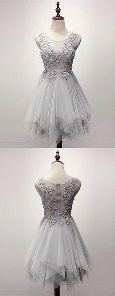 A-Line Dresses,Asymmetrical Dresses,Grey Dresses,Tulle Dresses,Homecoming Dresses 2017,Homecoming Dresses Short,Beading Homecoming Dresses,Appliques Homecoming Dresses
