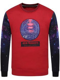 Graphic Print Galaxy Crew Neck Sweatshirt #men, #hats, #watches, #belts, #fashion, #style
