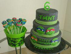 Ninja Turtles cake and cake pops