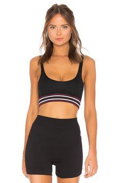 d9a99b007353b4 Free People Movement Varsity Stripe Bra in Black List Style