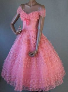 Frilly, lacy pink vintage dress
