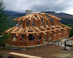 One of my homes under construction in Washington.  #loghome #loghomedesign #loghomebuilders #postandbeam   For more photos or this or any other or my homes, please check out my website, www.designma.com, my Design Page, www.facebook.com/loghomedesign. The log work in this home is by Nicola Log Works www.logworks.ca