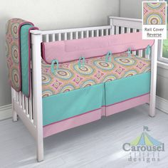 Crib bedding in Solid Bubblegum Pink, Pink Haute Circles, Solid Fuchsia, Solid Teal. Created using the Nursery Designer® by Carousel Designs where you mix and match from hundreds of fabrics to create your own unique baby bedding. #carouseldesigns