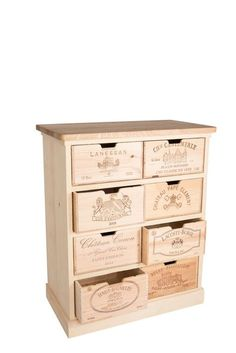 Chest of drawers 8 wine-box-drawers by BoisRustique on Etsy Vintage Wooden Crates, Wooden Boxes, Wine In The Woods, Wine Logo, Wine Case, Cabinet Making, Funky Furniture, Wine Cellar, Chest Of Drawers