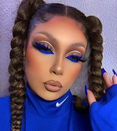 Dope Makeup, Baddie Makeup, Makeup Eye Looks, Hair Makeup, Blue Eyeliner Looks, White Eyeliner, Eyeliner Pen, Flawless Makeup, Gorgeous Makeup