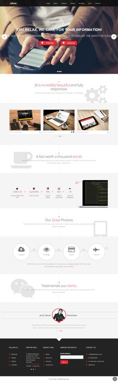 Jekas is a professional multipurpose WordPress Theme for any business or portfolio website, it's fully responsive design ready to look stunning on any device.  Customize your website as much as you want, you have tons of layout possibilities with unlimited variations and colors.  The template comes with 34+ pages built using the Bootstrap 3.x framework.