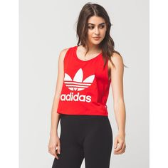 Adidas Trefoil Cropped Womens Tank ($25) ❤ liked on Polyvore featuring tops, sleeveless tank, crop tank, red top, red crop top and adidas tank