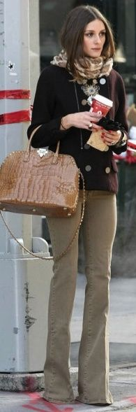 Who made Olivia Palermo's tan handbag, jeans, and jacket that she wore in New York? Coat – Pringle of  Purse – Valentino  Jeans – MiH
