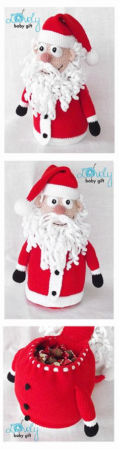 Crochet pattern - Santa Claus decoration, gift bag, crochet pattern, häkelanleitung, haakpatroon, hæklet mønster, modèle crochet https://www.etsy.com/listing/198154446/christmas-crochet-pattern-santa-claus?ref=shop_home_active_63