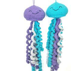 Cute Toy Jellyfish ~ Amigurumi Crochet Unique Baby Shower gift, Under the Sea nursery decoration, Hanging Mobile Plush, First Birthday