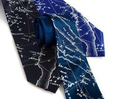 Constellation necktie. Milky Way galaxy, star chart tie. Men's SILK tie. Ice blue print. Your choice of tie colors.