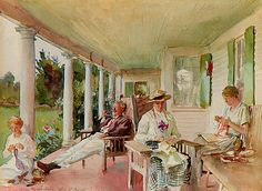 John Singer Sargent painting 'On the Verandad' at Ironbound Island Maine of Dwight (Ben) Blaney's family. Ben was a noted Maine artist.