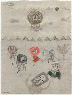 Hand embroidered Lion Buddha and dancing lions with lions masks by Miga de Pan