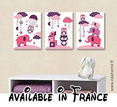 Illustrations pour chambre d'enfant affiche poster bébé fille décoration murale éléphant chouette rose réf.11.  #Guild Product #GUILD_HOME
