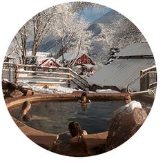 Avalanche Ranch's three natural, cascading Hot Springs directly on the property are open to all guests! Open year round except Wednesdays for maintenance.