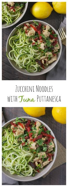 Looking for a 10-minute, protein-packed, gluten-free dinner? Look no further! Zucchini noodles with tuna puttanesca is your new favorite weeknight meal! #OnlyAlbacore #CG #BumbleBeeTuna