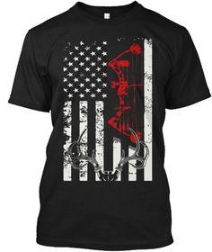 Deer Hunting Flag T Shirt Black T-Shirt Front