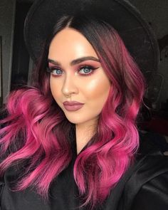 Balayage hair blonde, ambre hair и ombre hair color. Pink And Black Hair, Pink Ombre Hair, Best Ombre Hair, Brown Ombre Hair, Pink Purple, Black And Red Ombre, Dark Hombre Hair, Red Colored Hair, Black Cherry Hair