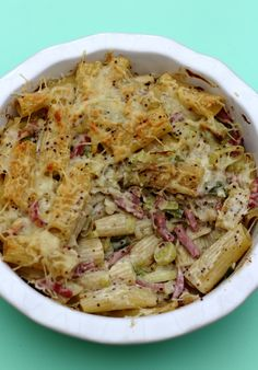Gratin de rigatoni à la fondue de poireaux sauce moutarde et bacon - 7SP Weight Watchers