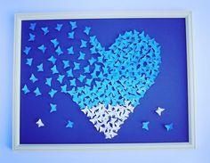 3D BLUE butterflies painting Wall ART 3D Paper Art by Gabiworks