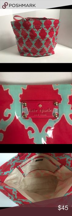 Kate Spade Vinyl Bon Shopper Tote Pink Blue Bag Pre-Loved and in Great Condition!!! Kate Spade Tote Bon Shopper Handbag.  • Color: Turquoise, Pink • Tiny Spot and discoloring on front left side — barely noticeable! See images for yourself kate spade Bags Totes