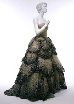"""Junon"" dress, fall/winter 1949–50 Christian Dior Haute Couture Pale-blue silk net embroidered with iridescent blue, green, and rust sequins"