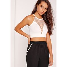 Missguided 90s Neck Airtex Crop Top ($24) ❤ liked on Polyvore featuring tops, white, white tops, high neck top, cropped tops, white crop top and spaghetti-strap top