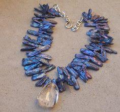 BUBBLE ICE QUARTZ PENDANT ROYAL BLUE BIWA PEARL NECKLACE WINTER ROCK GEMSTONE in   eBay