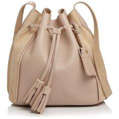 Longchamp Penelope Leather Bucket Bag (€715) ❤ liked on Polyvore featuring bags, handbags, shoulder bags, sand, longchamp shoulder bag, beige shoulder bag, tassel purse, leather shoulder bag and genuine leather handbags