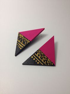 Hand painted wooden triangle afrocentric studs by LaVieBelle, $8.00