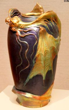 Hungarian Art Nouveau vase (c1900) by Lajos Mack from Zsolnay factory of Pecs at Museum of Fine Arts. Boston, MA.