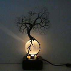 Full Moon rising Wire Tree Of Life Ancient Spirit sculpture on natural silky White Selenite Sphere with Gemstones Lamp, original art