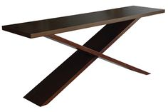 """Justin Console - Hand-carved Hardwood Cross Leg Frame. Oly.  Maybe too contemporary.   78""""W x 20""""D x 32""""H"""