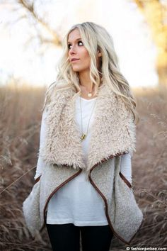 NOW IN STOCK! Going fast - Draped Sleeveless Faux Fur Wool Vest with Leather Trim-Off White
