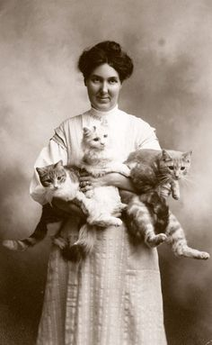 back-then:  Woman and her three cats.