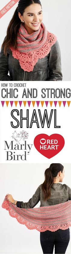 Learn how to crochet the Chic and Strong Shawl with this video tutorial by Marly Bird! Free DIY pattern designed by Rohn Strong available on Red Heart Yarns. Great gift idea for Mother's Day!