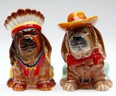 Appletree-Indian Chief Dog & Cowboy Basset Hound Salt And Pepper Shaker Set . $11.58