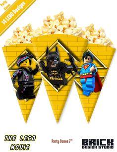 The LEGO Movie - Birthday Party Cones Images digital file DIY Emmet Wildstyle Batman Superman