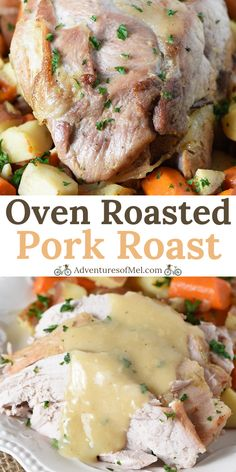 Deliciously easy pork roast recipe with vegetables and gravy.- Deliciously easy pork roast recipe with vegetables and gravy, perfect for dinner tonight. How to cook a pork roast with simple seasoning in the oven. Pork Loin Recipes Oven, Cooking Pork Roast, Pork Roast In Oven, Meat Recipes, Crockpot Recipes, Game Recipes, Prime Pork Roast Recipe, How To Roast Pork, Pork Gravy Recipe
