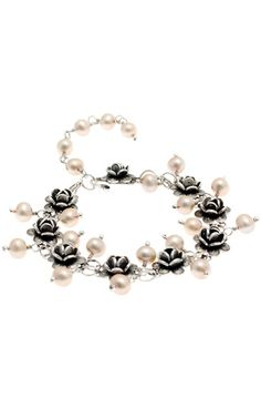 Yvone Christa New York Precious B003. #Yvone #Christa Burnished silver bracelet with roses. Pendant cream pearls.