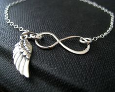 Infinity bracelet with Angel wing charm sterling by NYmetals