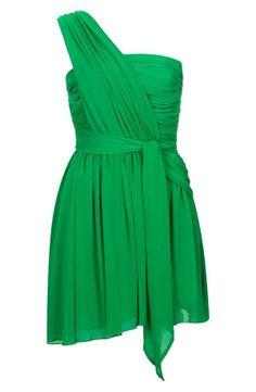 Must have this one-shoulder emerald dress. Loving the Kate Moss by Topshop collection!