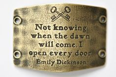 Not Knowing When The Dawn Will Come, I Open Every Door - Brass - Large Sentiments S0030B   Lenny And Eva